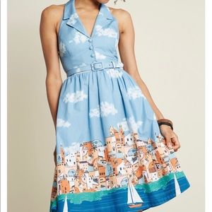 ModCloth Genuine Genius Halter Dress in Village XS